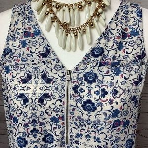 NWOT Maurices Floral 3/4 Zipper Tank Top Blouse